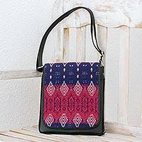 Leather and cotton messenger bag, 'Woven Chandelier' - Black Leather and Colorful Handwoven Cotton Messenger Bag