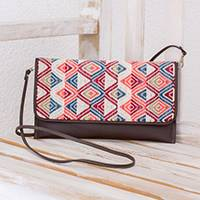 Leather accent cotton clutch handbag, 'Sunset Peaks' - Brown Leather Colorful Handwoven Cotton Clutch Shoulder Bag