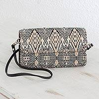 Leather accent cotton mini clutch, 'Sand Waves' - Leather Trimmed Handwoven Beige and Black Cotton Mini Clutch