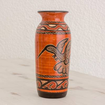 Ceramic decorative vase, 'Flying Free' - Earth-Toned Hummingbird Chorotega Pottery Decorative Vase