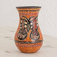 Ceramic decorative vase, 'Beauty in the Breeze' - Orange and Brown Butterfly Chorotega Pottery Decorative Vase