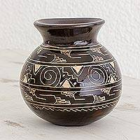 Ceramic decorative vase, 'Nicoya's Earth' - Dark Brown Chorotega Pottery Handmade Decorative Round Vase