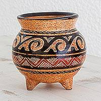 Ceramic decorative vessel, 'Nicoya's Story' - Earth-Toned Chorotega Pottery Handmade Decorative Vessel