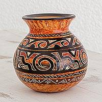 Ceramic decorative vase, 'Nicoya's Vitality' - Handmade Earth-Toned Chorotega Pottery Decorative Round Vase