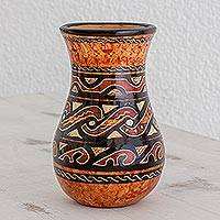 Ceramic decorative vase, 'Nicoya Celebrated' - Handmade Earth-Toned Chorotega Pottery Decorative Vase