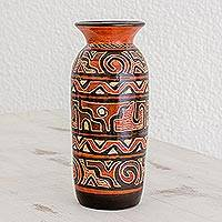 Ceramic decorative vase, 'Honoring Nicoya' - Handcrafted Earth-Toned Chorotega Pottery Decorative Vase