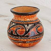 Ceramic decorative vase, 'Nicoya's Legacy' - Handmade Orange and Brown Chorotega Pottery Decorative Vase