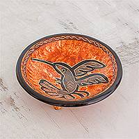 Ceramic decorative bowl, 'Aloft' - Earth-Toned Hummingbird Chorotega Pottery Decorative Bowl