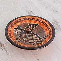 Ceramic decorative bowl, 'Ancient Seafarer' - Orange with Brown Turtle Chorotega Pottery Decorative Bowl