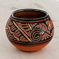 Ceramic mini decorative vase, 'Cultural Beauty' - Hand-Painted Ceramic Mini Decorative Vase from Costa Rica