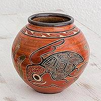 Ceramic decorative vase, 'From Sea to Tree' - Turtle and Toucan Round Chorotega Pottery Decorative Vase