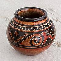 Ceramic decorative vase, 'Ancient Times' - Orange and Black Round Chorotega Pottery Decorative Vase
