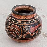 Ceramic decorative vase, 'Cherished Heritage' - Black and Earth-Tone Round Chorotega Pottery Decorative Vase