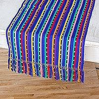 Cotton table runner, 'Multicolored Paths' - Handwoven Multicolored Cotton Table Runner from Guatemala