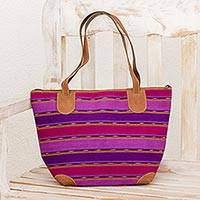 Suede accent cotton tote, 'Bougainvillea Field' - Suede Accent Cotton Tote Handbag from Guatemala