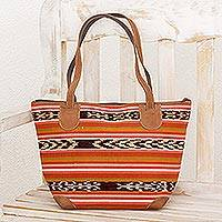 Suede accent cotton tote, 'Good Harvest' - Striped Suede Accent Cotton Tote from Guatemala