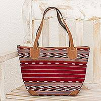 Suede accent cotton tote, 'Stripes of Tradition' - Red Suede Accent Cotton Tote from Guatemala