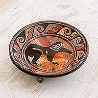 Ceramic decorative plate, 'Mischief Maker' - Black Monkey Earth-Toned Chorotega Pottery Decorative Plate