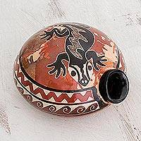 Ceramic decorative vase, 'Curious Gecko' - Black Gecko Earth-Toned Chorotega Pottery Decorative Vase