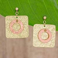 Brass and copper dangle earrings, 'Combination of Forms' - Square Brass and Copper Earrings from Guatemala