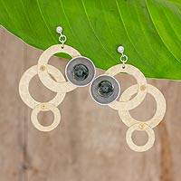 Jade dangle earrings, 'Modern Cross-Sections' - Circle Motif Jade Dangle Earrings from Guatemala