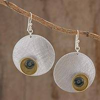 Jade dangle earrings, 'Contemporary Beauty' - Circular Jade Dangle Earrings Crafted in Guatemala