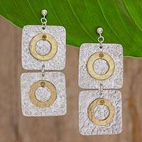 Brass and aluminum dangle earrings, 'Shining Modernity' - Square and Circle Motif Brass and Aluminum Earrings