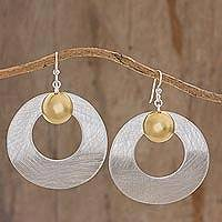 Brass and aluminum dangle earrings, 'Modern Planets' - Circular Aluminum Earrings with Brass Accents from Guatemala