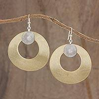 Brass and aluminum dangle earrings, 'Modern Solar System' - Circular Brass Earrings with Aluminum Accents from Guatemala