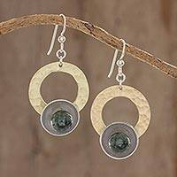 Jade dangle earrings, 'Textured Combination' - Circular Modern Jade Dangle Earrings from Guatemala