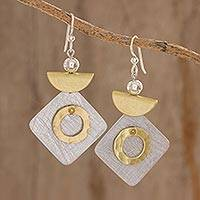 Brass and aluminum dangle earrings, 'Modern Combination' - Abstract Modern Brass and Aluminum Earrings from Guatemala