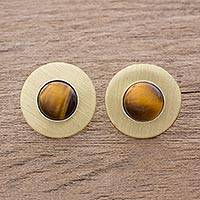 Tiger's eye button earrings, 'Complex Rings' - Modern Tiger's Eye Button Earrings from Guatemala