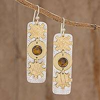 Tiger's eye dangle earrings, 'Cogs of Success' - Cog Motif Tiger's Eye Dangle Earrings from Guatemala