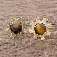 Tiger's eye button earrings, 'Turning the Gears' - Cog-Shaped Tiger's Eye Button Earrings from Guatemala