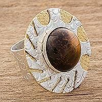 Tiger's eye wrap ring, 'Original and Modern' - Modern Tiger's Eye Cocktail Ring from Guatemala