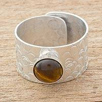 Tiger's eye single-stone ring, 'Simply Abstract' - Tiger's Eye and Aluminum Single-Stone Ring from Guatemala