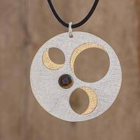 Tiger's eye pendant necklace, 'Modern Orbits' - Modern Tiger's Eye Pendant Necklace from Guatemala