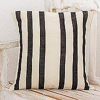 Cotton cushion cover, 'Striped Combination' - Black and White Striped Cotton Cushion Cover from Guatemala