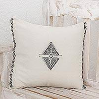 Cotton cushion cover, 'Simple Geometry' - Diamond Motif Cotton Cushion Cover from Guatemala