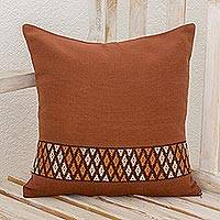 Cotton cushion cover, 'Solid Earth' - Handwoven Cotton Cushion Cover in Chestnut from Guatemala
