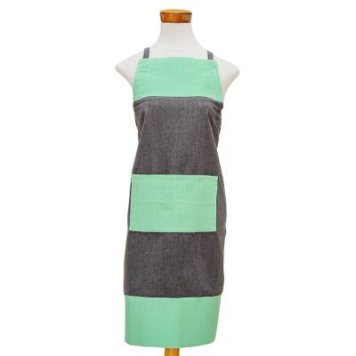 Cotton apron, 'Modern Chef in Grey' - Handwoven Dark Grey and Mint Green Cotton Apron with Pocket