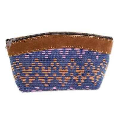 Leather Accent Cotton Cosmetic Bag from Guatemala
