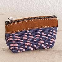Leather accented cotton coin purse, 'Textured Beauty' - Leather Accent Cotton Coin Purse from Guatemala