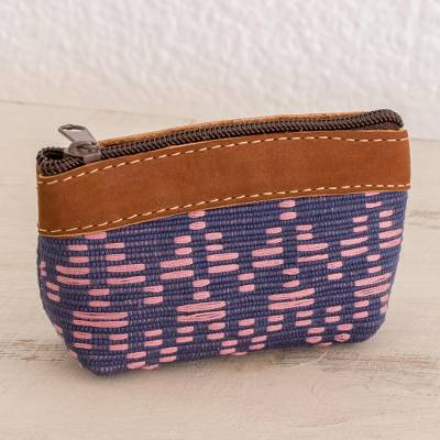 c7de16af8631 Leather Accent Cotton Coin Purse from Guatemala, 'Textured Beauty'