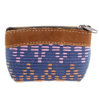 Leather Accent Cotton Coin Purse from Guatemala