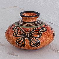 Ceramic decorative vase, 'Beauty in the Sky' - Costa Rican Handcrafted Ceramic Decorative Butterfly Vase