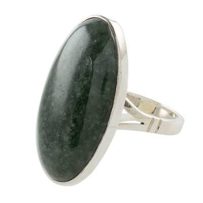 Jade cocktail ring, 'Dark Green Tonalities' - Oval Jade and Sterling Silver Cocktail Ring from Guatemala