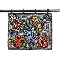 Recycled cotton blend tapestry, 'Colors of Liberty' - Floral and Bird-Themed Cotton Blend Tapestry from Guatemala