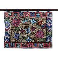 Recycled cotton blend tapestry, 'Geometry and Beauty' - Floral Motif Cotton Blend Tapestry from Guatemala