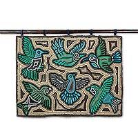 Recycled cotton blend tapestry, 'Verdant Forests' - Green Bird Recycled Cotton Blend Tapestry from Guatemala